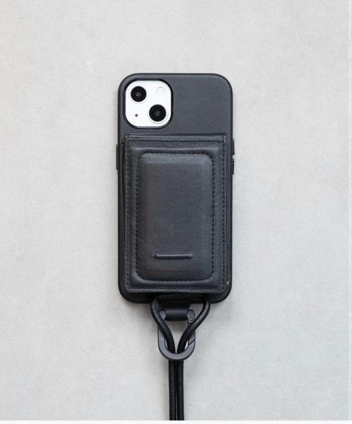防水レザーのショルダーストラップ付MagSafe対応iPhoneケース。 頑張り気になる